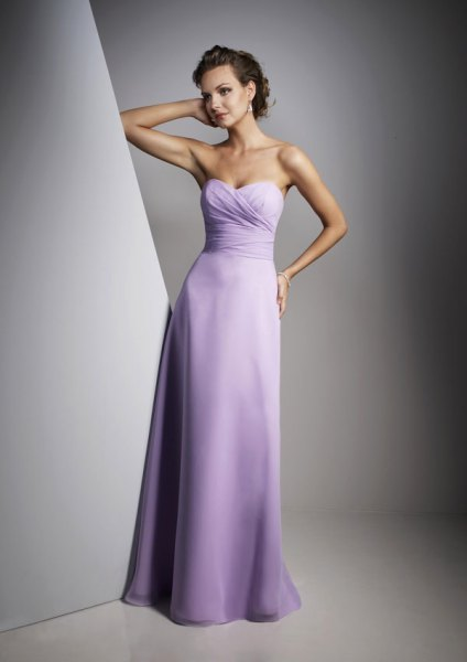 pale purple fit and flare strapless floor length dress