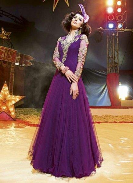 chiffon purple semi sheer floor length pleated flared dress