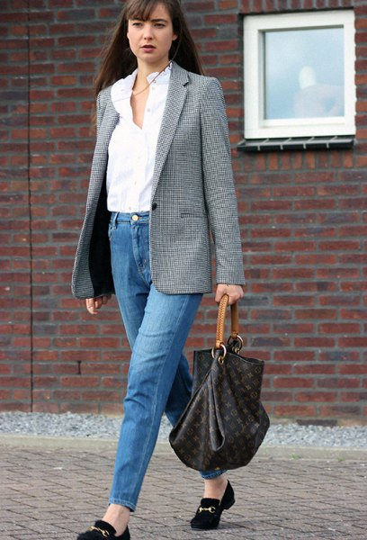 gray tweed oversized blazer with mom jeans and suede