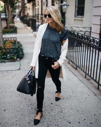 white long sweater cardigan with heather gray short sleeve tee and black jeans