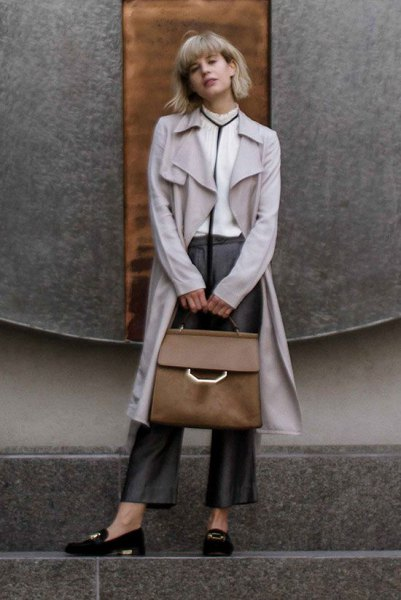 gray long excavator skirt with black suede loafers