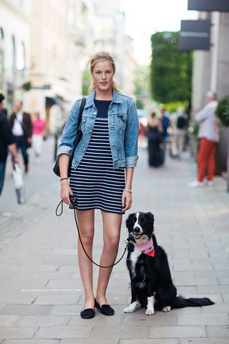 blue denim jacket with black and white striped mini-shift dress and backless suede