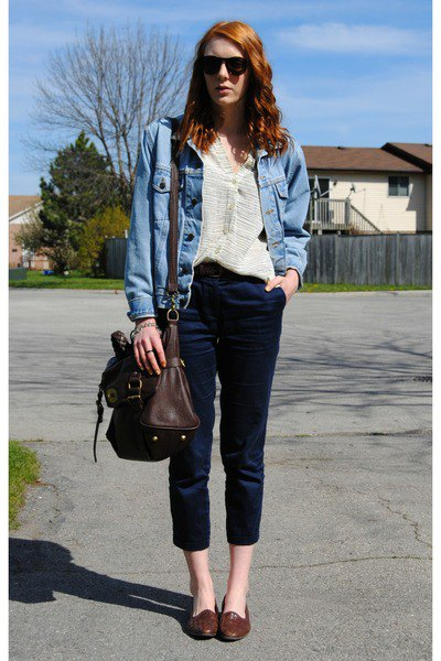 blue denim jacket with black cropped slim fit jeans and brown leather boards