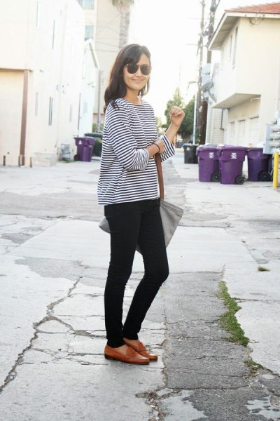 black and white striped long sleeve t-shirt with brown loafers
