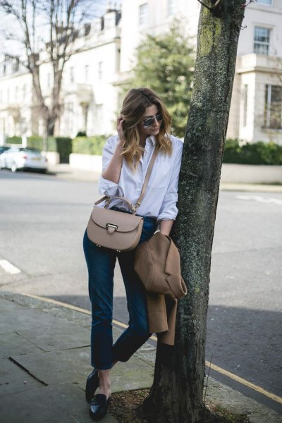 white button up shirt with black cropped leather leggings and backless loafers