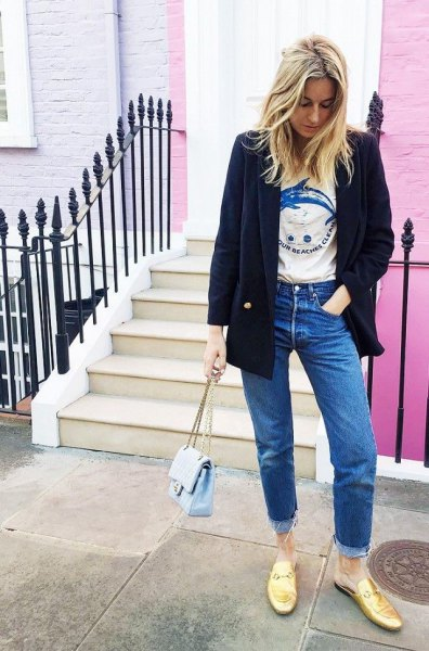 black wool blazer with printed tee and golden backless boards