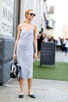 light gray midi-slip dress with backless loafers with pointed toe