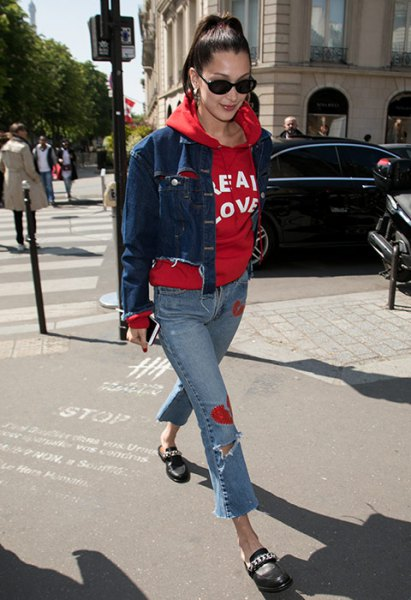 red printed hoodie with blue fitted short denim jacket