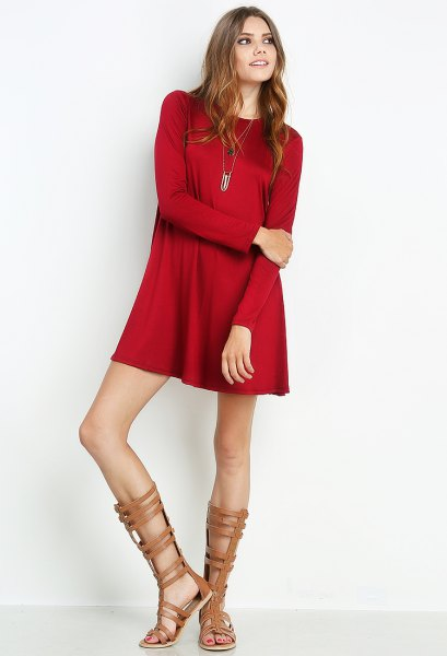 red mini long sleeve silk dress with gladiator nude sandals