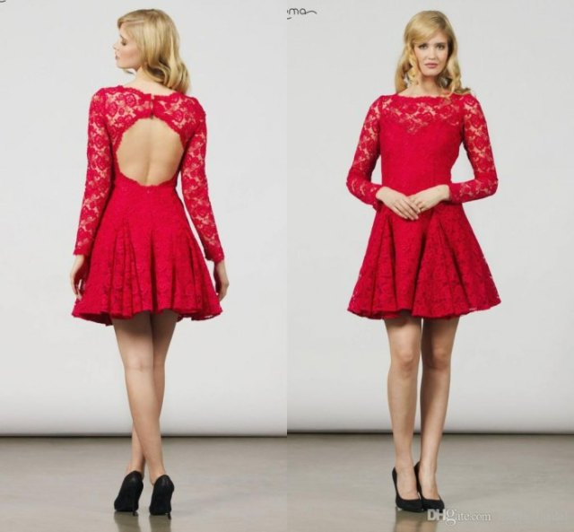 red lace cutout back long sleeve skater pleated dress