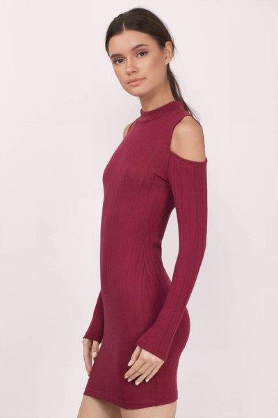 burgundy cold shoulder mock neck mini bodycon dress