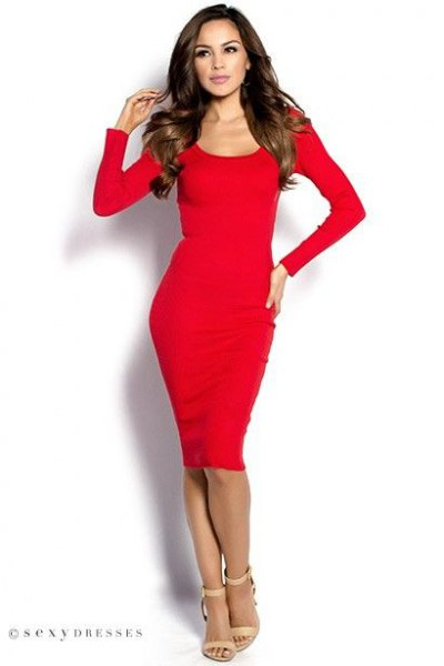 red scoop neck long-sleeved bodycon midi dress with heels in heels
