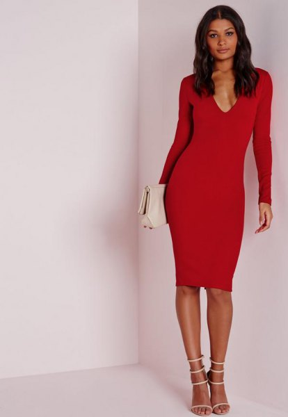 red long-sleeved deep v-mid waist dress with white heels with open toe