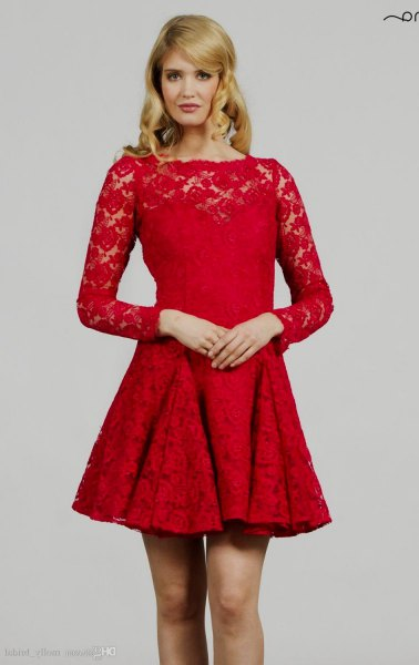 red lace fit and flare long sleeve dress
