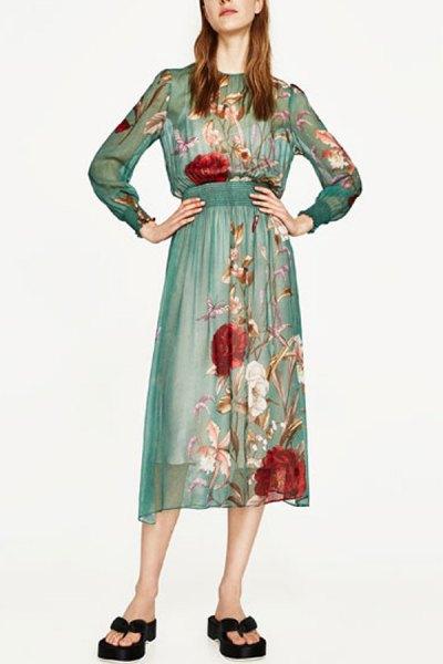 semi sheer black waist midi chiffon dress with long sleeves