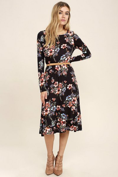 black belt floral printed midi long sleeve dress