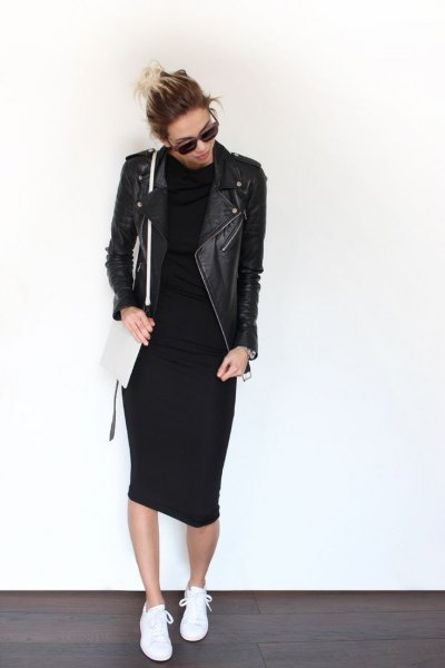 black leather jacket with midi mock neck shealth dress and sneakers
