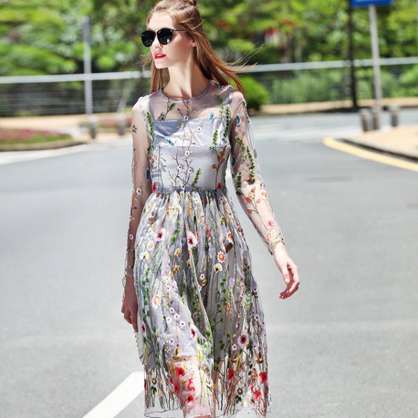 two layer chiffon floral printed midi dress at the waist with long sleeves