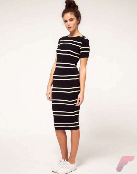 black short-sleeved horizontal striped midi sheath dress