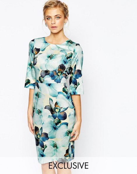 white and blue wide half-warm mantle floral printed midi dress