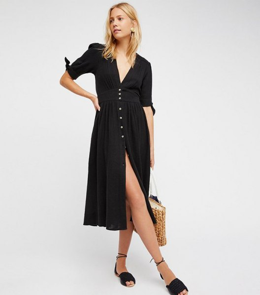 black short-sleeved v-neck midi dress with slit