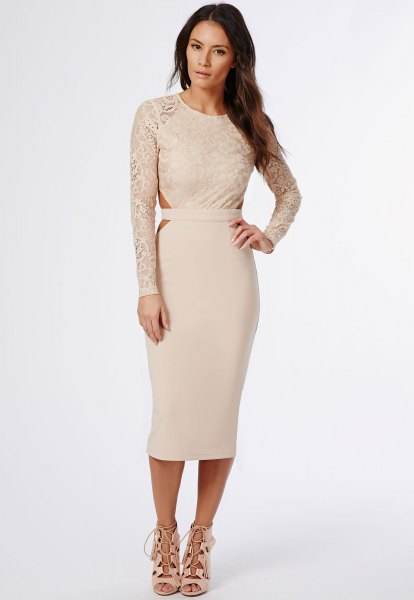 light pink lace sleeve bodycon midi dress with lace up open toe heels