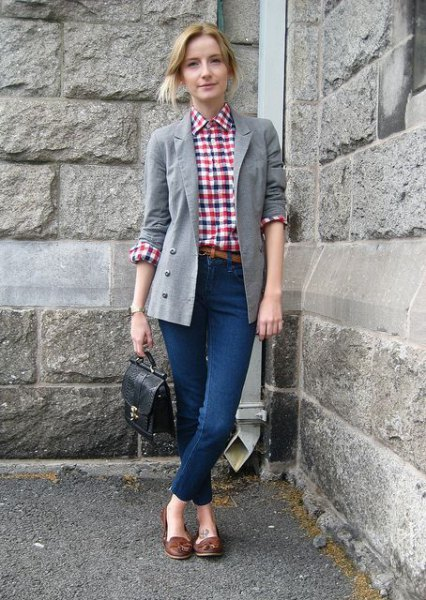 gray longline blazer with checkered boyfriend shirt and dark brown tassel boards