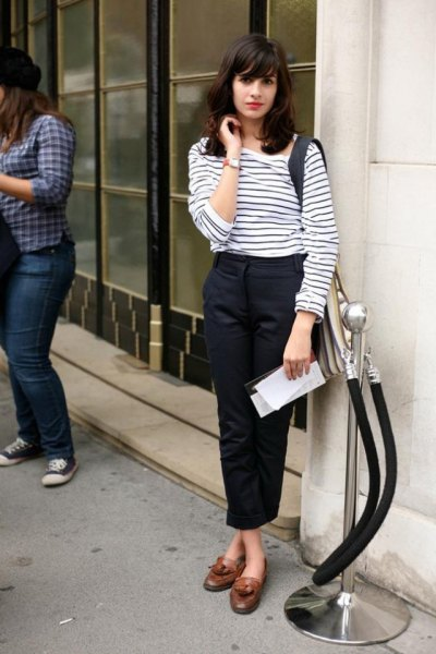 white and black striped long sleeve tee with black cropped straight benchinos