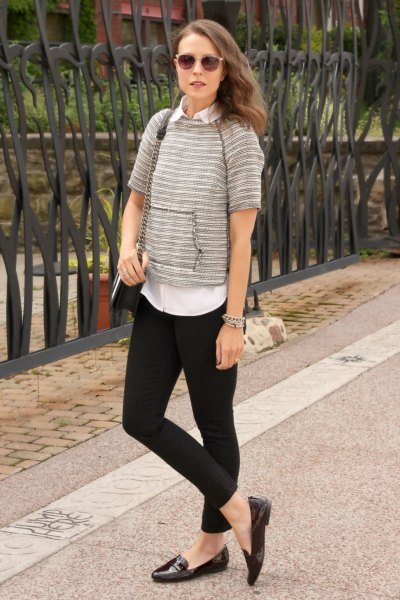 gray sweater with short sleeve with white shirt and black slip on shoes