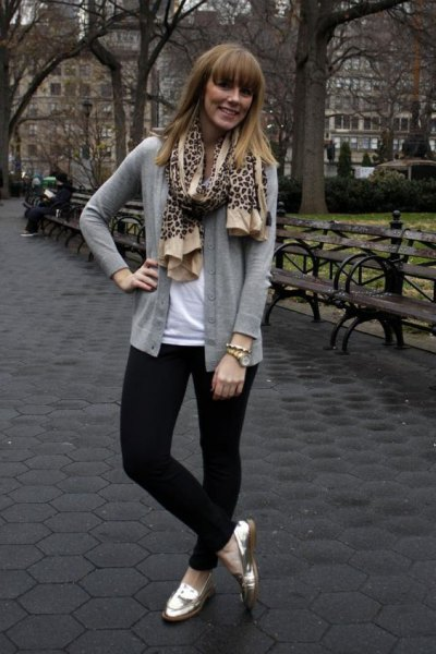 gray cardigan with leopard print scarf and gold loafers