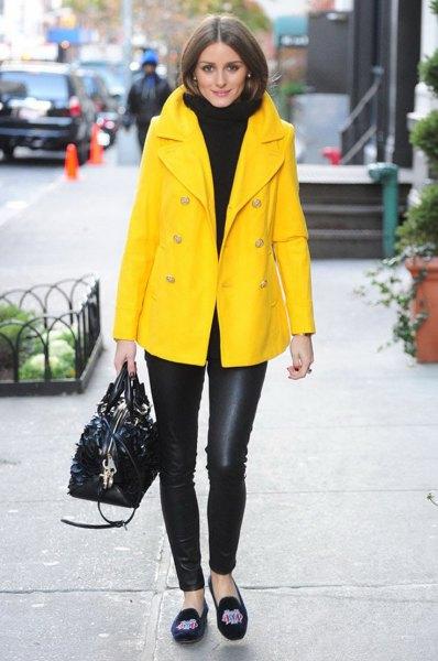 yellow oversized blazer skirt with black turtleneck chunky sweater