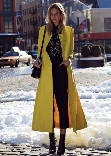 maxi slim fit lemon wool skirt with black crop jeans and boots