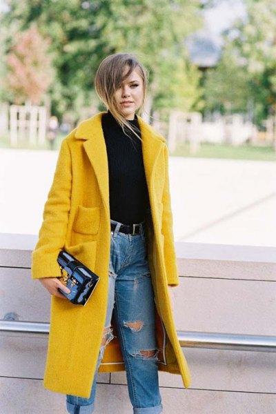 fleece longline jacket with blue high waist jeans