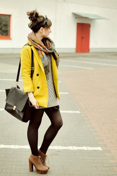 yellow jacket with pink pink cable tricot mini sweater dress