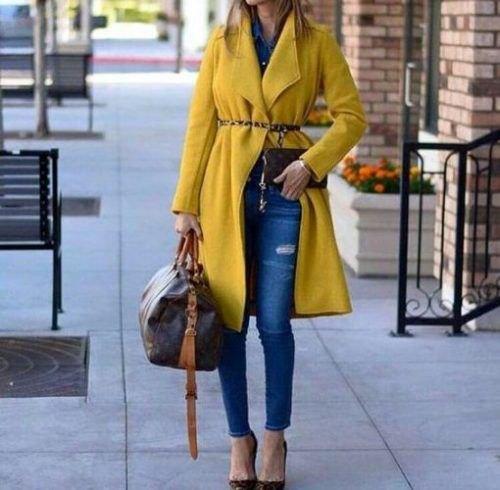 fleece belt long-line yellow coat with blue ankle skinny jeans