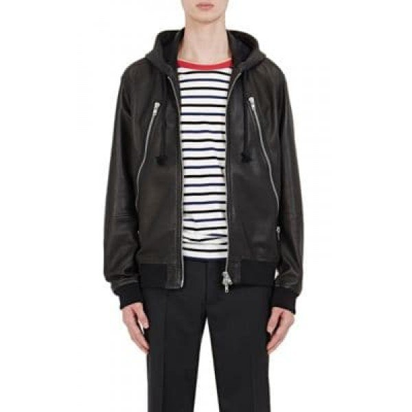 black faux fur with hood casual leather jacket with striped tee