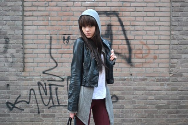 black faux leather short jacket with long line zipper hoodie