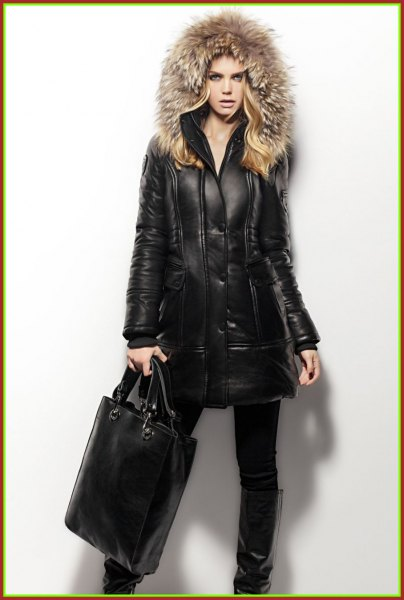 black motorcycle jacket with long line with fur hood