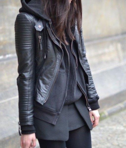 black leather bike jacket with hood sweater cardigan