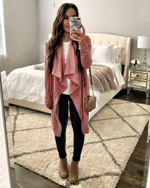 pink pink long line waterfall cardigan with black skinny jeans and camel boots