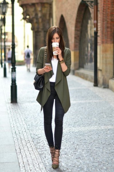 gray cardigan with white blouse and gladiator ballet heels