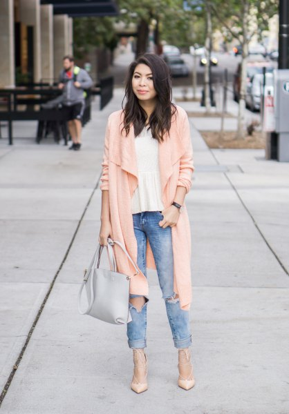 pale pink long line waterfall cardigan with cuffed boyfriend jeans