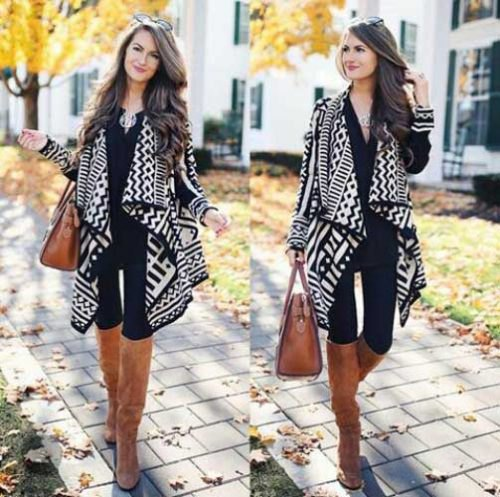 black and white stem printed long cashmere cardigan