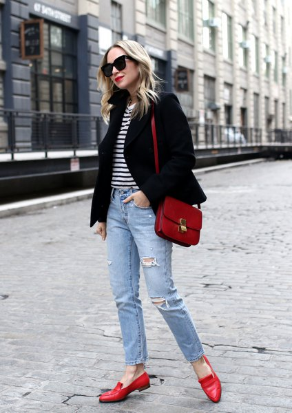 black blazer with striped tee and ripped ankle jeans