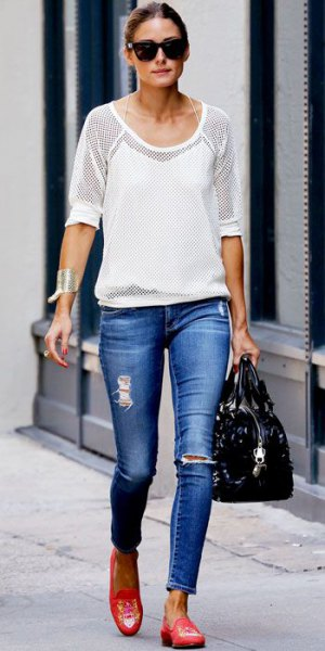 white semi-tight mesh top with blue jeans and pink loafers