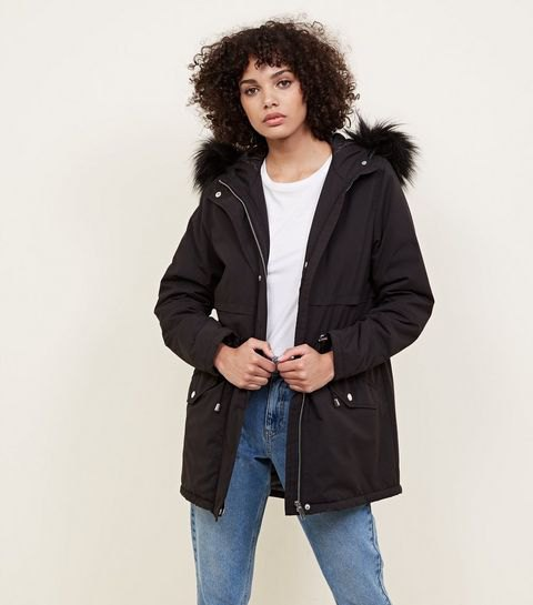 black oversized bomber jacket with fur hood