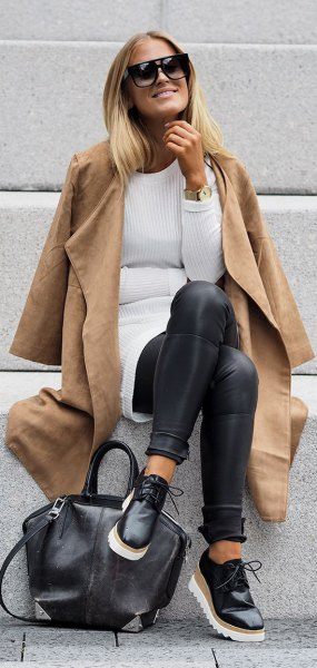 camel faux leather long jacket with ribbed tunic sweater and leggings