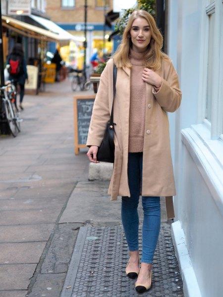 light camel longliner skirt with crepe mock neck sweater