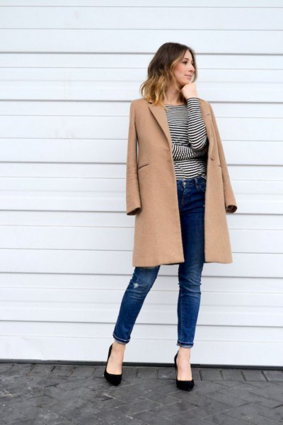 camel longline wool coat with black and white striped long sleeve tee