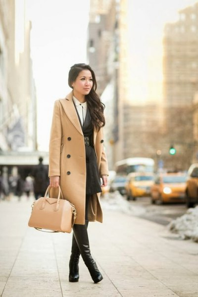 camel midi length with double chestnut with high boots in leather